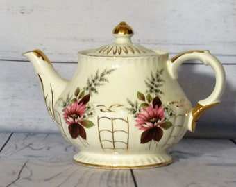 Ellgreave Wood and Sons English Teapot, Four Cup Pink Floral China Teapot with Gold Trim, Stamped and Numbered  Vintage Ellgreave
