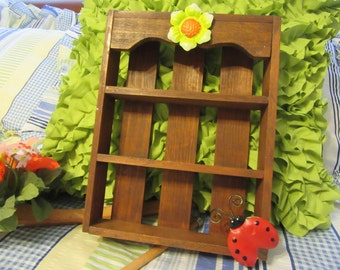 Slat Box Small Wooden With Shelves  Metal Flower and Lady Bug Accents Home Decor Childs Room Decor Home Decor Country Decor Kitchen Decor