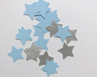 Blue and Silver Star Confetti- Silver Baby Shower- Blue and Silver Baby Shower- Twinkle Twinkle Little Star Confetti