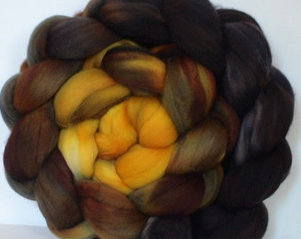 Hand Dyed wool roving for spinning or felting pre-order 3.5ozs Black Gold of the Sun