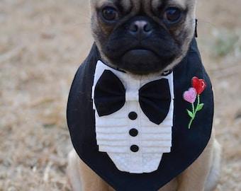 TUXEDO BANDANA w rose - Wedding Groom- Shirt Front style - All sizes - 11.99 - 16.99 - made to order