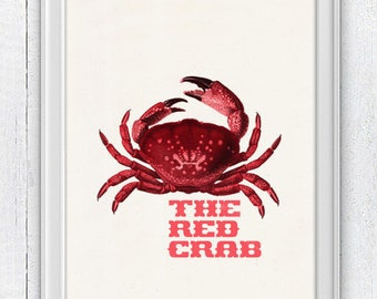 The Red Crab Poster - sea life print- Marine  sea life illustration A4 print - vintage natural history SAS047