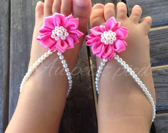 Baby barefoot sandals, baby jewelry, baby shoes, baby shower gift, flower girl, pink baby shoes, baby girl gift, first birthday gift
