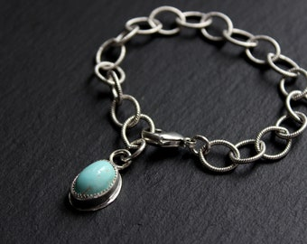 """READY TO SHiP- Royston Turquoise Textured Chain Link Sterling Silver Bracelet #003 