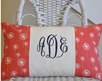 Monogrammed Pillow Cover 12x20 Lumbar Pillow Choose Your Fabric