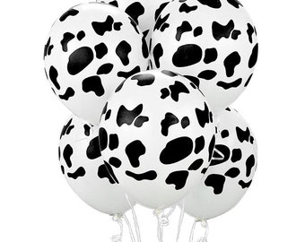 "Cow Print Balloons - 11"" latex - Set of 6- Western Party, Cowboy Party, Bridal Shower, Wedding, Birthday Party"