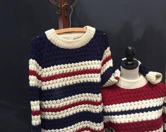 Two Irish Loose Knit 70s Sweaters