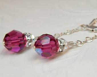 Ruby Earrings, Swarovski Crystal Round Long Dangle, Fuchsia Magenta, Sterling Silver, Bridesmaid Wedding Handmade Jewelry, July Birthday
