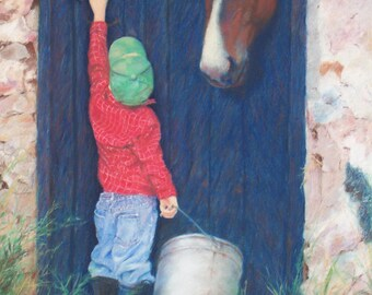 Original Painting, Horse, Boy, Country, Farm, Barn, Friends, Children, Original, Painting