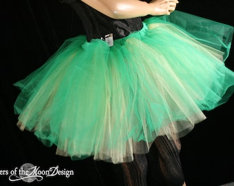 Tutu skirt Peek a boo two layer green gold Adult roller derby costume dance halloween fairy run  - You Choose Size - Sisters of the Moon
