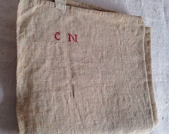 "Antique Hemp, Unbleached Ecru French Tea Towel, Vintage Textile Dishcloth, Hand Embroidered CN Rustic Farmhouse Home Decor 30""x 29"" One pc"