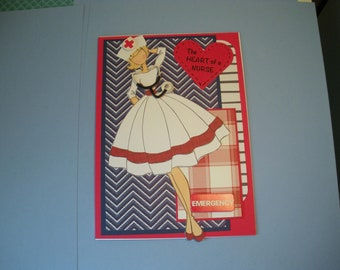 The HEART of a NURSE- Handmade Greeting Card - Prima Doll Tag Dressed as Nurse
