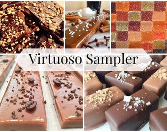 Virtuoso Sampler: Pâte de Fruits, Vin Pâte de Fruits, Grey & Smoked Salted Caramels, Gourmet Caramel Bar and Buttercrunch Toffee