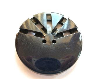 Vintage antique button dark blue plastic, huge giant button, 49mm, 8mm thick, RARE