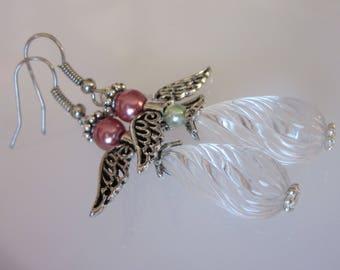 Angel Earrings, Christmas Earrings, Victorian Angel Earrings, Clear Twisted Acrylic, Elegant Dangle