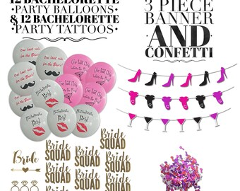 Bachelorette Party Decorations & Bachelorette Party Favors   Includes 12 Balloons, 12 Tattoos, 3 Piece Banner and 1 Bag of Pecker Confetti