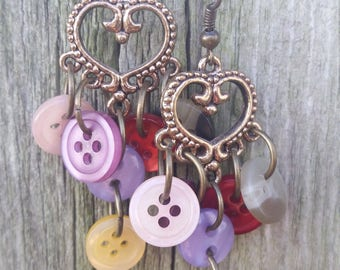 Hearts and button dangle earrings