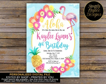 Aloha Beach Birthday Party Invitation
