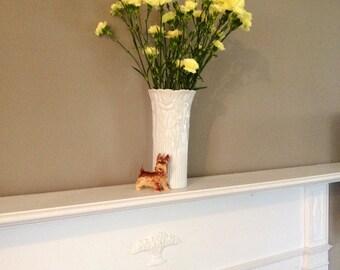 "Vase Tall White Wedding Table Centerpiece Vase Rose Vase Long Stem Vase Vintage Vase 10"" Tall Vase Pleated Bottom Flower Vase Ceramic Vase"