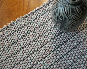 Handwoven Table Runner, Forest green, Pink and White Striped, Rag Rug Style