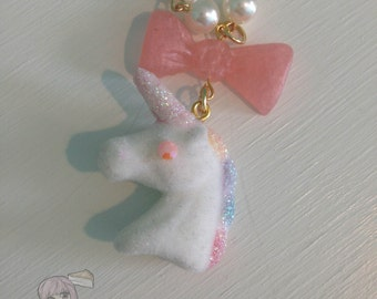 Pastel Flocked Unicorn Pony Pink Bow Faux Pearl Gold Tone Necklace