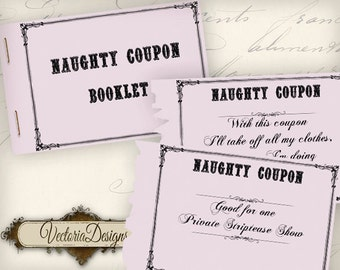 Printable Naughty Coupon Book printable man gift printable women gift for  men instant download digital collage
