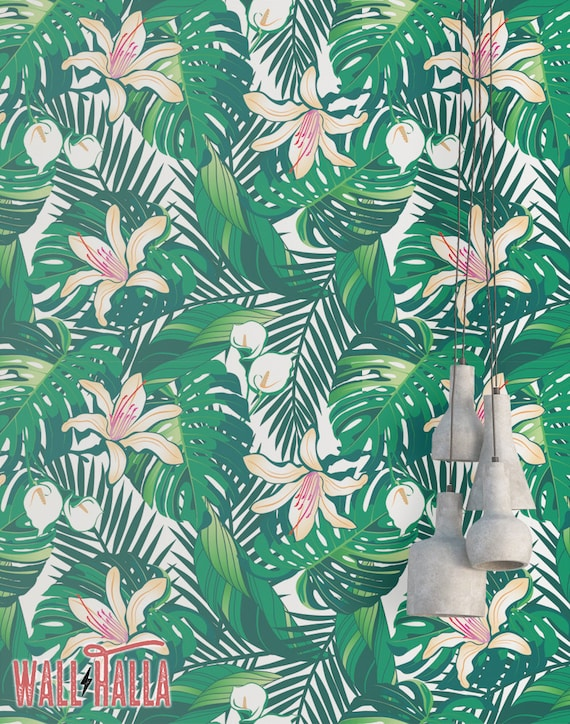Tropical Green Leaves Wallpaper Removable