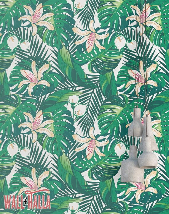 Tropical Green Leaves Wallpaper Removable Wallpaper