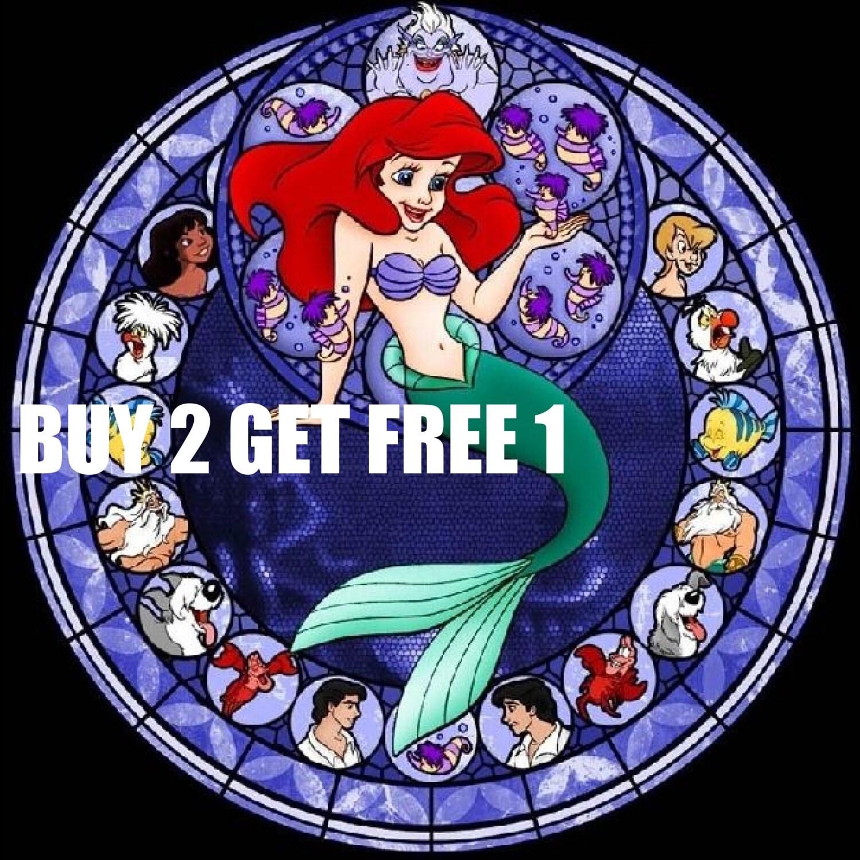 BUY 2, GET 1 FREE! Disney Stained Glass Little Mermaid 023Cross ...