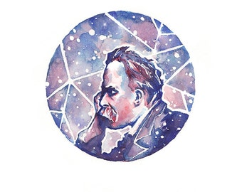 Friedrich Nietzsche — [§] Watercolor Painting - 8x10 Giclee Print
