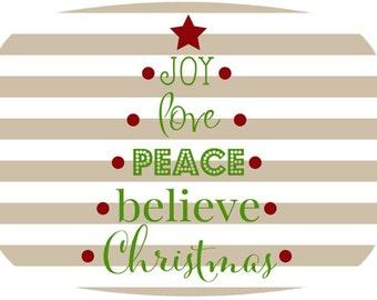 personalized melamine platter - Christmas believe