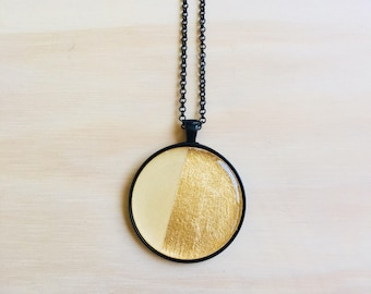 38mm Black Pendant Necklace • Gold Leaf and Wood • Resin •76cm Black Rolo Chain • Lobster Clasp • Nickel Free