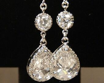 Cubic Zirconia Earrings, Bridal Earrings, Pear Rhinestone Earrings, Wedding Earrings, Glamorous Pear Drops, Bride CZ Earring, Dangle Drop