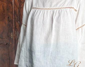 Linen White Blouse Laced  /Boho blouse / Hippie Blouse / Linen Top Women