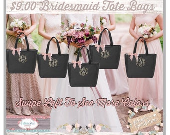 Bridesmaid Tote Bags , Bachelorette Party Tote Bags , Zipper Tote Bags , Bridal Party Gift Bags,  Wholesale Tote Bags , Cheap Tote Bags