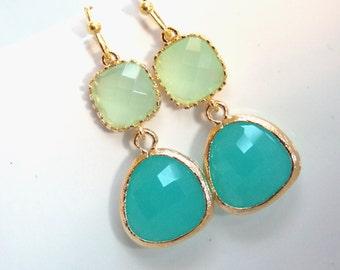 Mint Earrings, Green Earrings, Aqua, Turquoise, Light Green, Gold Earrings, Wedding Jewelry, Bridesmaid Earrings, Bridesmaid Gifts