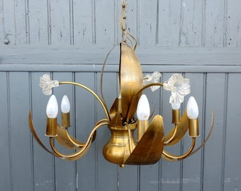 Vintage french tole ware 7 lamp chandelier, ceiling light, pendant light