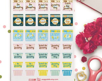 Laundry Day Mini Planner Stickers |  Erin Condren ECLP Life Planner | Washing Day | Laundry Planner Stickers | Laundry Stickers