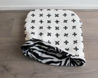 black white X/zebra design ~ three-in-one cat snuggle bag - snuggle sack - cat burrow - cat cuddle - pet bed - pet blanket