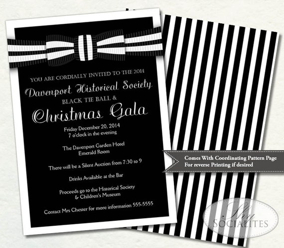 Black tie invitation black and white ball invitation black tie invitation black and white ball invitation formal gala holiday party formal fund raiser prom ceremony print at home stopboris Gallery