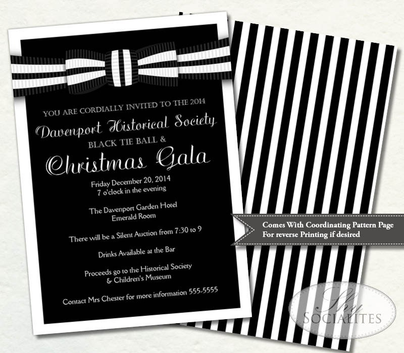 Black Tie Invitation Black and White Ball Invitation