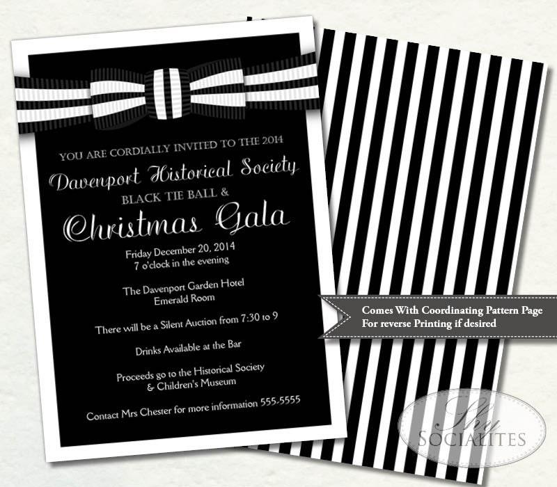 Black Tie Invitation Black and White Ball Invitation
