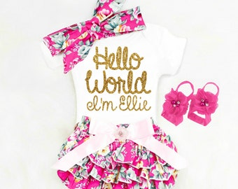 Baby Girl Coming Home Outfit Baby Shower Gift Baby Girl Going Home Outfit Hello World Newborn Girl Clothes Boho Baby Girl Clothes Summer