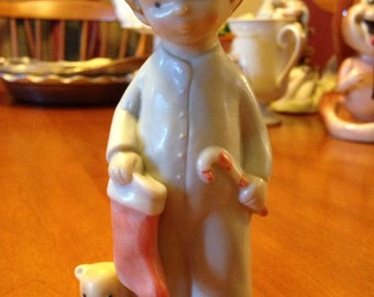 Little Christmas Boy in P.J.s With Stocking and Teddy Bear by Enesco