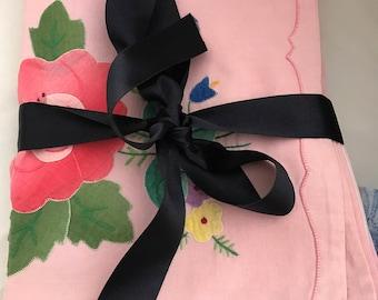Cotton Tablemats. Pink floral table mats. Linen.