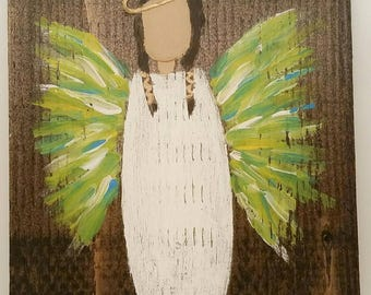 Earth Angel my Guardian Dear, hand painted Angels, Personalised Guardian Angel, child's room, Memorial, green yellow blue brown hair
