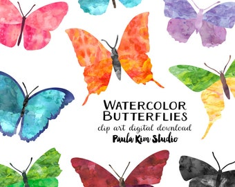 Pretty Watercolor Butterfly Clipart, Instant Download, Butterflies, Watercolor Clip Art, Commercial Use, Wedding Clipart