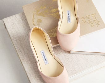Nude Leather Ballet Flats | Minimal Blush Bridal Wedding Shoes | Pointe Style Shoes | Classic Model | Standard Width | Nude | Ready to Ship