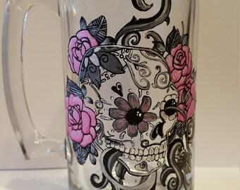 Skull Mug, Sugar Skull, Hand Painted Beer Mug, Dia De Los Muertos, Sugar Skull Gifts, Day Of The Dead, Sugar Skulls, 21st Birthday