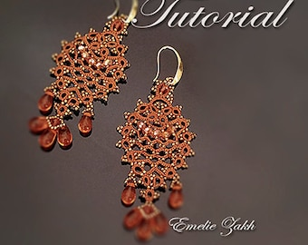 Tatting lace Pattern LIGHT COPPER  Earrings frivolite earrings tatting with beads frivolite earring  instruction earrings beaded earrings
